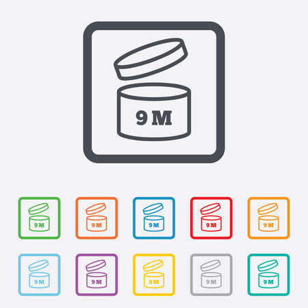 9 months: After opening use 9 months sign icon. Expiration date. Round squares buttons with frame. Vector