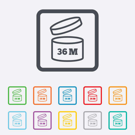 expiration date: After opening use 36 months sign icon. Expiration date. Round squares buttons with frame. Vector Illustration