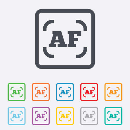 autofocus: Autofocus photo camera sign icon. AF Settings symbol. Round squares buttons with frame. Vector Illustration