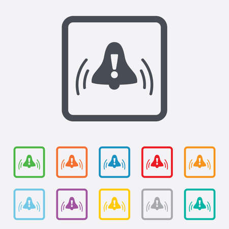 wake up call: Alarm bell with exclamation mark sign icon. Wake up alarm symbol. Round squares buttons with frame. Vector