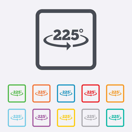 math icon: Angle 225 degrees sign icon. Geometry math symbol. Round squares buttons with frame. Vector