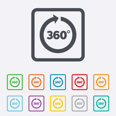 Angle 360 degrees sign icon. Geometry math symbol. Full rotation. Round squares buttons with frame. Vector Vector