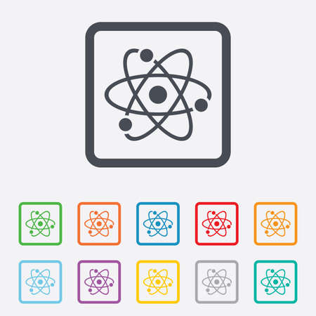 Atom sign icon. Atom part symbol. Round squares buttons with frame. Vector Vector