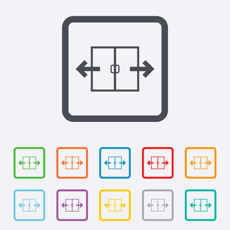 automatic doors: Automatic door sign icon. Auto open symbol. Round squares buttons with frame. Vector