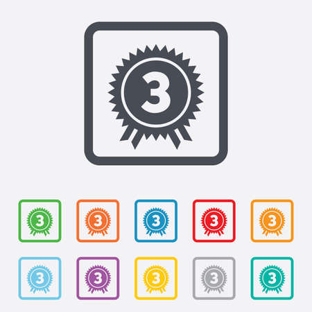 Third place award sign icon. Prize for winner symbol. Round squares buttons with frame. Vector Vector