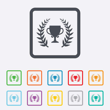 First place cup award sign icon. Prize for winner symbol. Laurel Wreath. Round squares buttons with frame. Vector Vector
