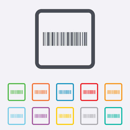 coded: Bar code sign icon. Scan code symbol. Coded word - success! Round squares buttons with frame. Vector Illustration
