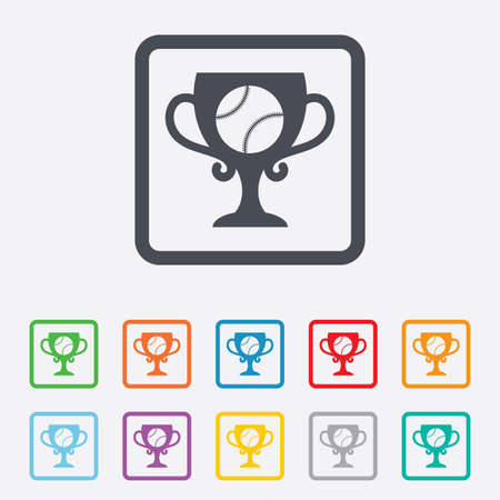 Baseball sign icon. Sport symbol. Winner award cup. Round squares buttons with frame. Vector Vector