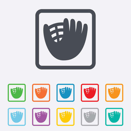 mitt: Baseball glove or mitt sign icon. Sport symbol. Round squares buttons with frame. Vector