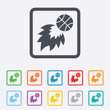 Basketball fireball sign icon. Sport symbol. Round squares buttons with frame. Vector Vector