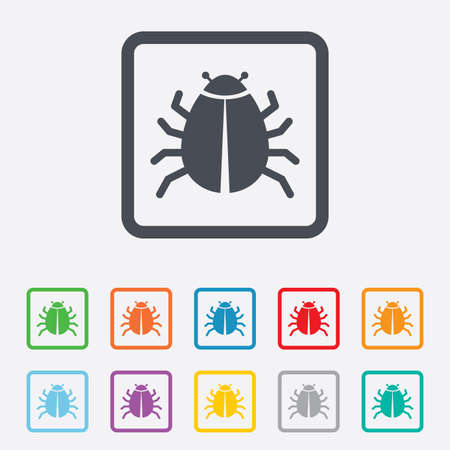 acarus: Bug sign icon. Virus symbol. Software bug error. Disinfection. Round squares buttons with frame. Vector