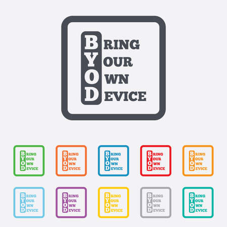 bring: BYOD sign icon. Bring your own device symbol. Round squares buttons with frame. Vector