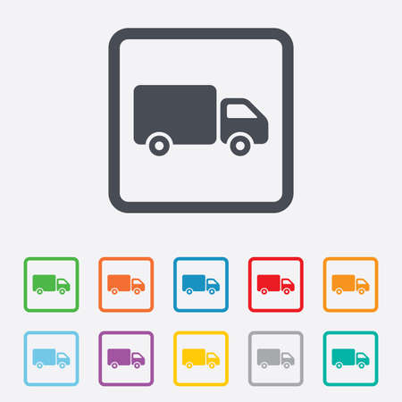 cargo van: Delivery truck sign icon. Cargo van symbol. Round squares buttons with frame. Vector Illustration