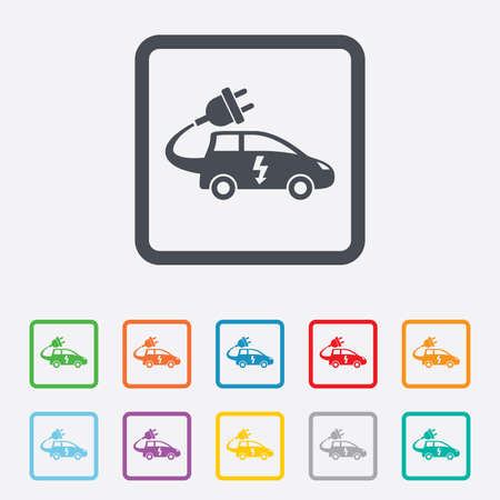 Electric car sign icon. Hatchback symbol. Electric vehicle transport. Round squares buttons with frame. Vector Vector