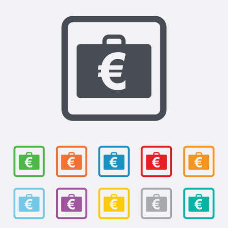 eur: Case with Euro EUR sign icon. Briefcase button. Round squares buttons with frame. Vector