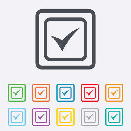 Check mark sign icon. Yes square symbol. Confirm approved. Round squares buttons with frame. Vector Vector