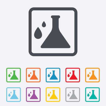 Chemistry sign icon. Bulb symbol with drops. Lab icon. Round squares buttons with frame. Vector Vector
