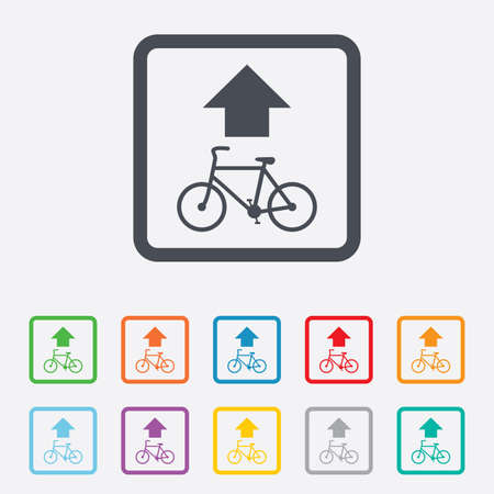 straight path: Bicycle path trail sign icon. Cycle path. Up straight arrow symbol. Round squares buttons with frame. Vector
