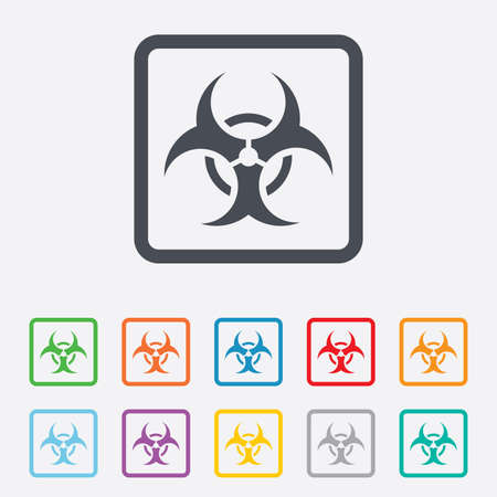 Biohazard sign icon. Danger symbol. Round squares buttons with frame. Vector Vector