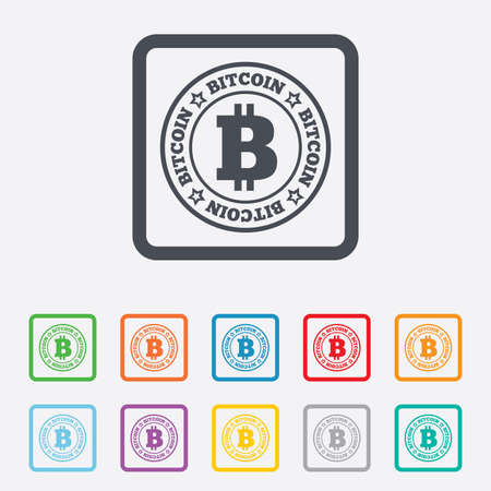 p2p: Bitcoin sign icon. Cryptography currency symbol. P2P. Round squares buttons with frame. Vector Illustration