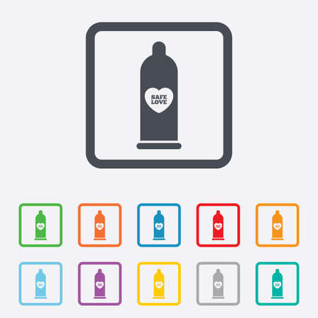 Condom safe sex sign icon. Barrier contraceptive symbol. Round squares buttons with frame. Vector Vector
