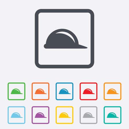 하드 모자 기호 아이콘입니다. 건설 헬멧 기호입니다. 라운드 사각형 단추 프레임입니다. 벡터 일러스트