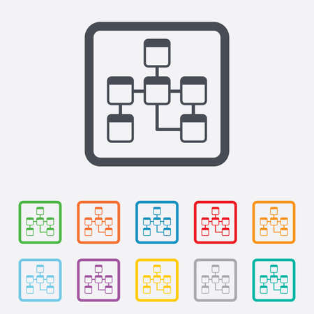 relational: Database sign icon. Relational database schema symbol. Round squares buttons with frame. Vector