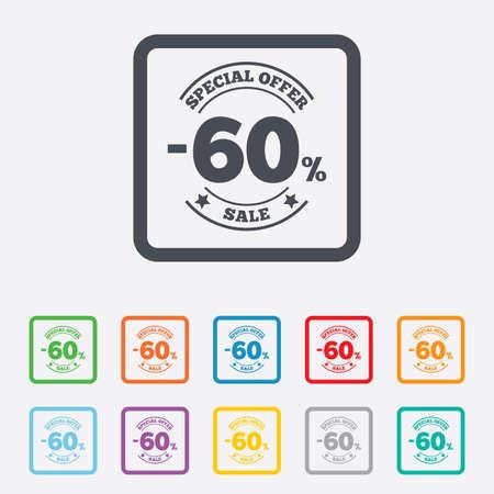 60: 60 por cento �cone de sinal de desconto. Venda s�mbolo. Etiqueta oferta especial. Quadrados redondos bot�es com moldura. Vetor Ilustra��o