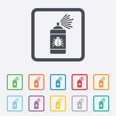 sprayer: Bug disinfection sign icon. Fumigation symbol. Bug sprayer. Round squares buttons with frame. Vector