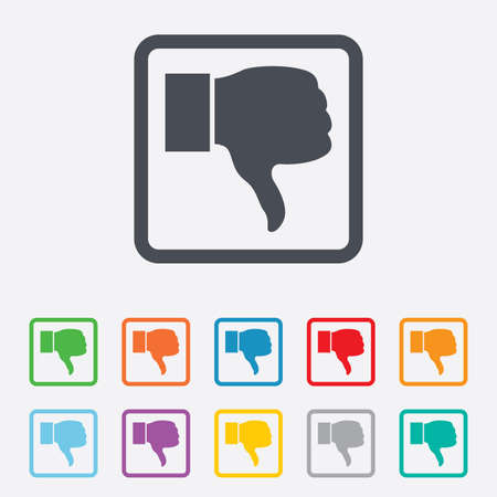 Dislike sign icon. Thumb down sign. Hand finger down symbol. Round squares buttons with frame. Vector Vector