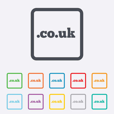 subdomain: Domain CO.UK sign icon. UK internet subdomain symbol. Round squares buttons with frame. Vector