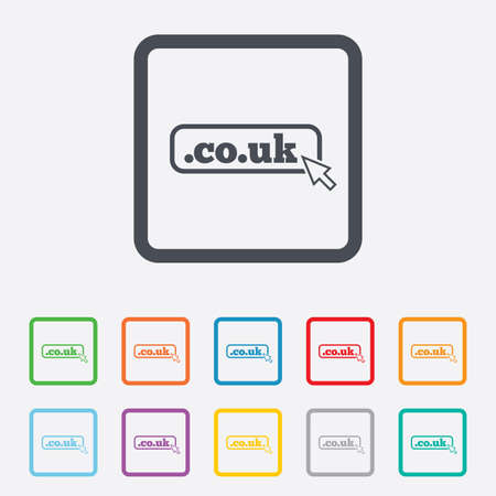 subdomain: Domain CO.UK sign icon. UK internet subdomain symbol with cursor pointer. Round squares buttons with frame. Vector