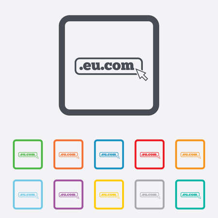 subdomain: Domain EU.COM sign icon. Internet subdomain symbol with cursor pointer. Round squares buttons with frame. Vector