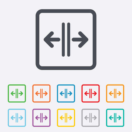 automatic doors: Open the door sign icon. Control in the elevator symbol. Round squares buttons with frame. Vector