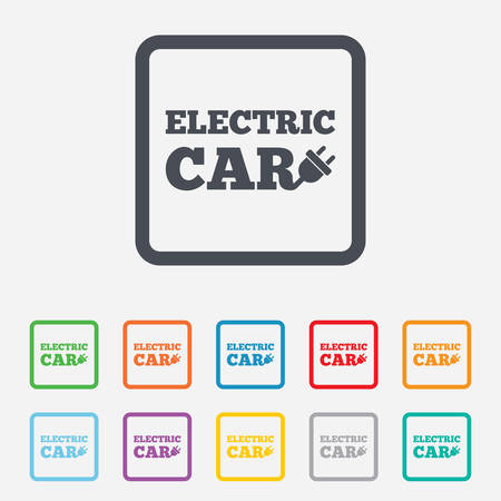 electric vehicle: Electric car sign icon. Electric vehicle transport symbol. Round squares buttons with frame. Vector