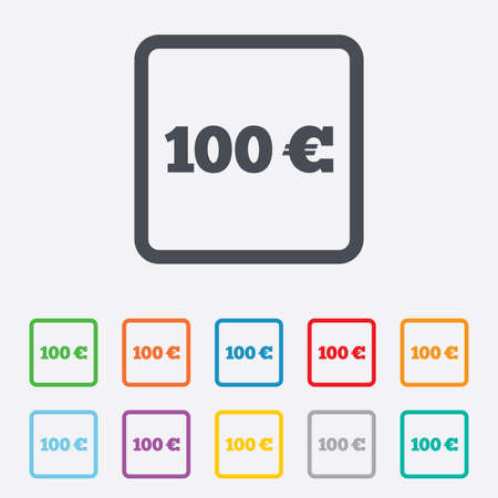 eur: 100 Euro sign icon. EUR currency symbol. Money label. Round squares buttons with frame. Vector