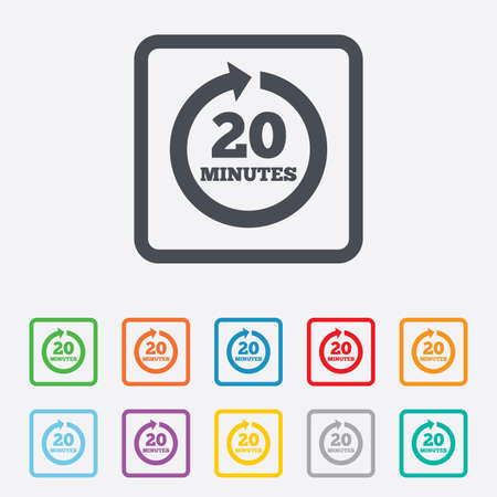 Every 20 minutes sign icon. Full rotation arrow symbol. Round squares buttons with frame. Vector Vector