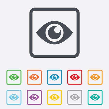 zichtbaarheid: Oogteken icoon. Publiceren knop content. Zichtbaarheid. Ronde pleinen knoppen met frame. Vector