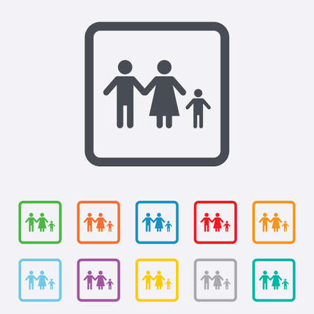 family with one child: Family with one child sign icon. Complete family symbol. Round squares buttons with frame. Vector Illustration