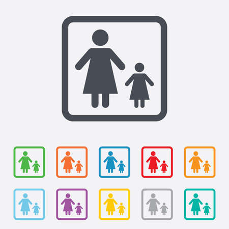 family with one child: One-parent family with one child sign icon. Mother with daughter symbol. Round squares buttons with frame. Vector