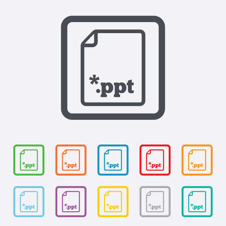 ppt: File presentation icon. Download PPT button. PPT file extension symbol. Round squares buttons with frame. Vector