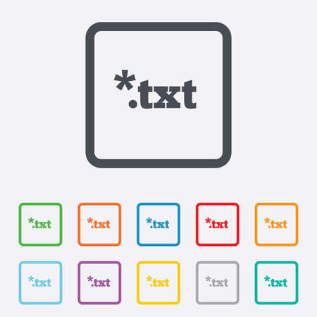 txt: Text file icon. Download txt doc button. Txt file extension symbol. Round squares buttons with frame. Vector