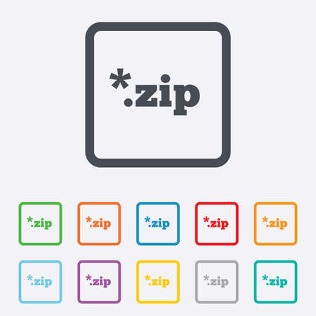 zipped: Archive file icon. Download compressed file button. ZIP zipped file extension symbol. Round squares buttons with frame. Vector Illustration