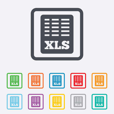 xls: Excel file document icon. Download xls button. XLS file symbol. Round squares buttons with frame. Vector