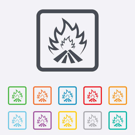 fire escape: Fire flame sign icon. Heat symbol. Stop fire. Escape from fire. Round squares buttons with frame. Vector
