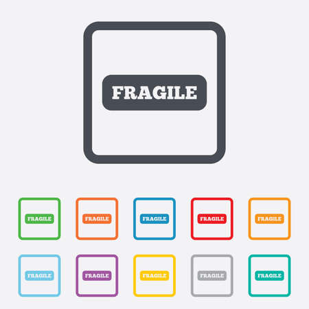 Fragile parcel sign icon. Delicate package delivery symbol. Round squares buttons with frame. Vector