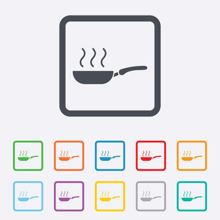 Frying pan sign icon. Fry or roast food symbol. Round squares buttons with frame. Vector Vector