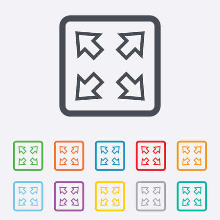 Fullscreen sign icon. Arrows symbol. Icon for App. Round squares buttons with frame. Vector Vector