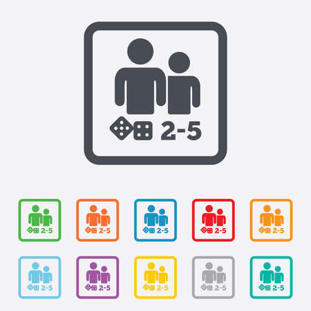 Board games sign icon. From two to five players symbol. Dice sign. Round squares buttons with frame. Vector Vector