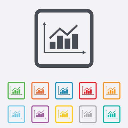 Graph Chart Sign Icon. Diagram Symbol. Statistics. Round Squares ...